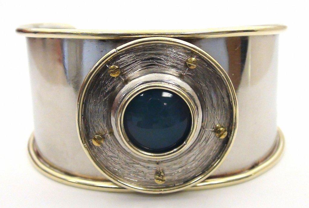 Blue Stone Disc Cuff
