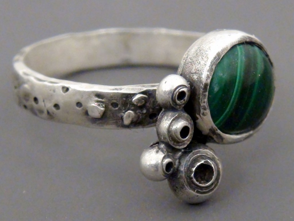 Sea Shell Ring with Malachite side view