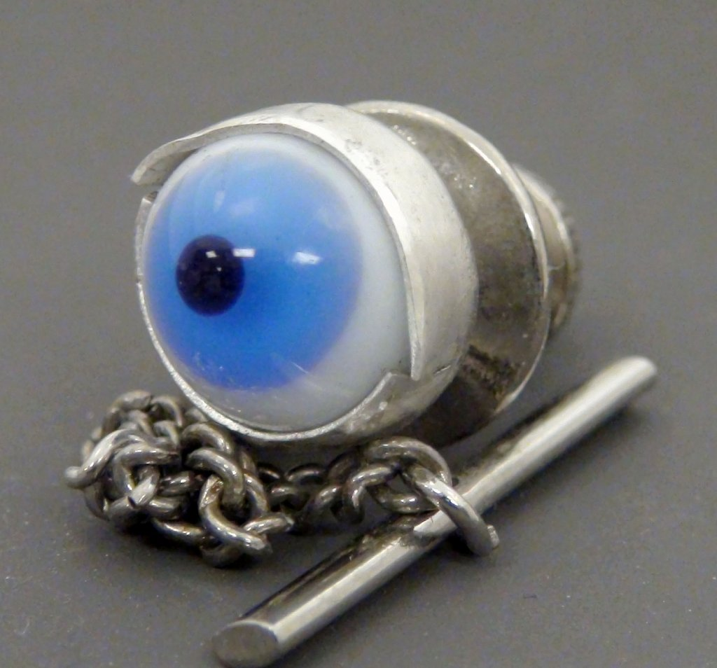Blue eye ball tie tack