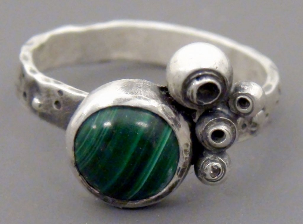 Sea Shell Ring with Malachite