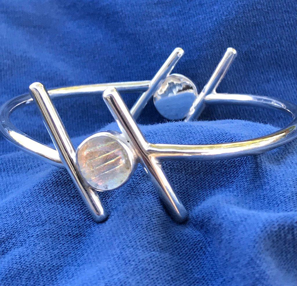 Silver cuff w/dichroic glass
